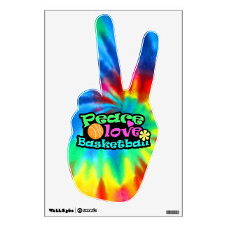 Peace, Love, Basketball; Retro Wall Decal