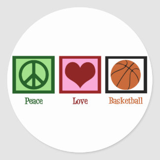 Peace Love Basketball Classic Round Sticker