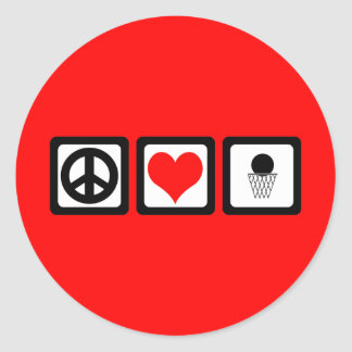 Peace love basketball round stickers
