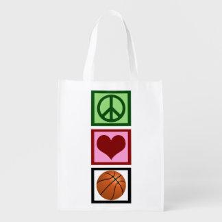 Peace Love Basketball Vertical Grocery Bag