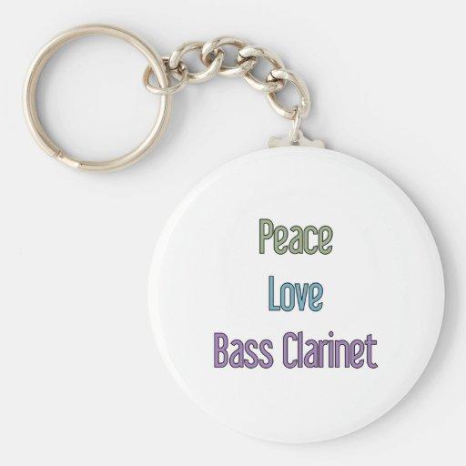 Peace, Love, Bass Clarinet Key Chain