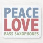 Peace Love Bass Saxophones Mouse Mat
