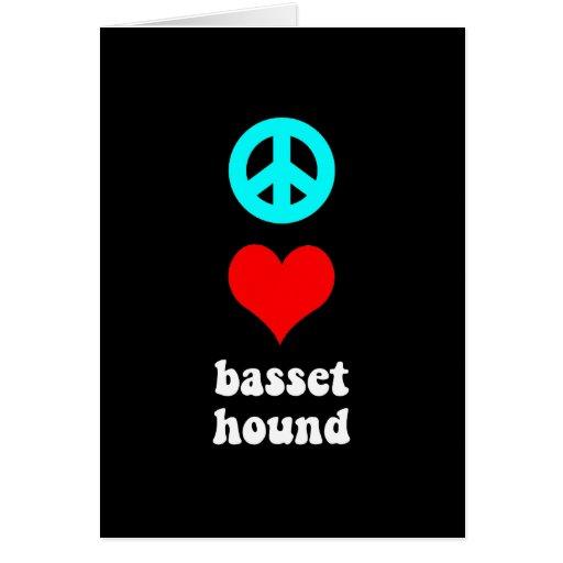 Peace love Basset Hound Card