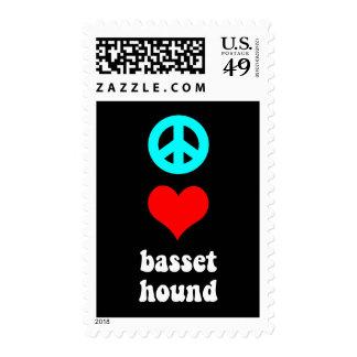 Peace love Basset Hound Postage Stamp