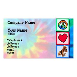 Peace, Love, Basset Hounds Business Card Template