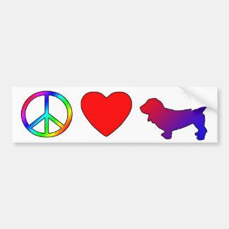 Peace Love Basset Hounds Car Bumper Sticker