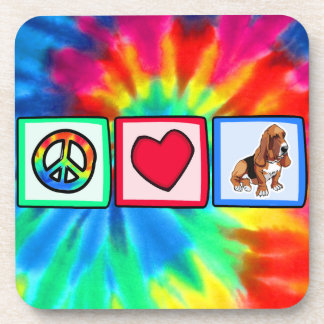 Peace, Love, Basset Hounds Coaster