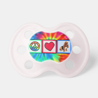 Peace Love Basset Hounds Baby Pacifier