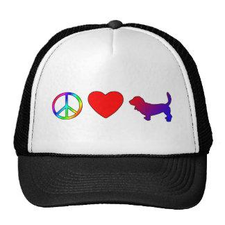 Peace Love Basset Hounds Trucker Hat
