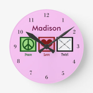 Peace Love Baton Twirling Custom Pink Round Clock