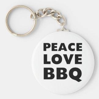 Peace Love BBQ Basic Round Button Keychain
