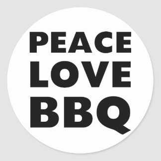 Peace Love BBQ Classic Round Sticker