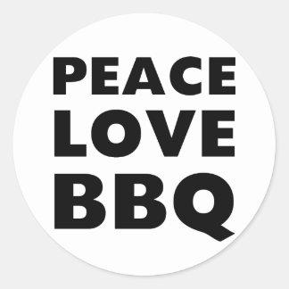 Peace Love BBQ Classic Round Sticker