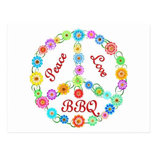 Peace Love BBQ Post Card