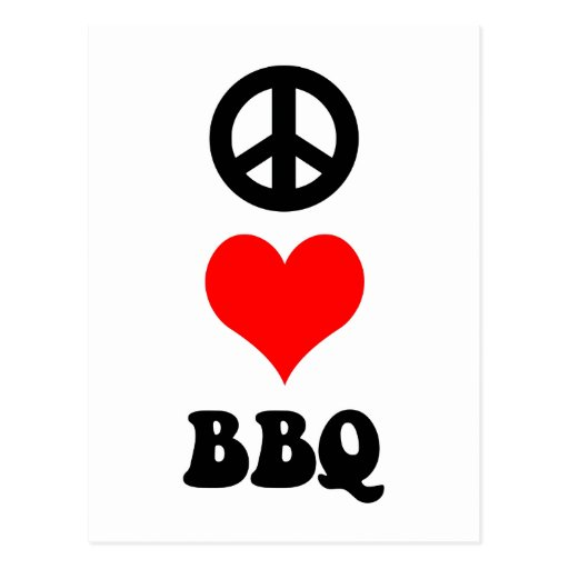 Peace Love BBQ Post Cards