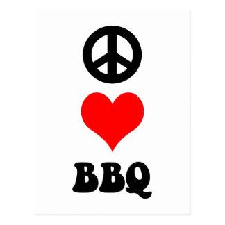 Peace Love BBQ Postcard