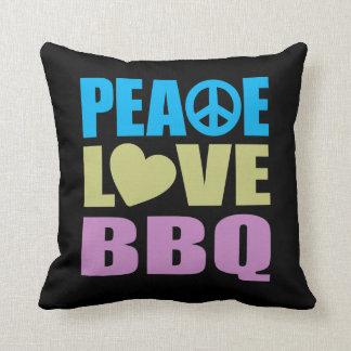 Peace Love BBQ Throw Pillow