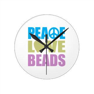 Peace Love Beads Round Clock