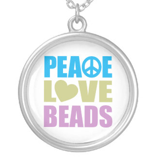 Peace Love Beads Round Pendant Necklace