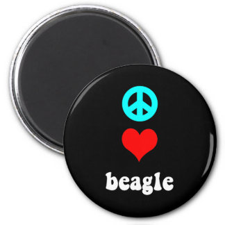 Peace love Beagle 2 Inch Round Magnet