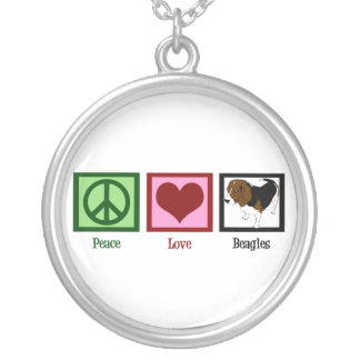 Peace Love Beagles Round Pendant Necklace