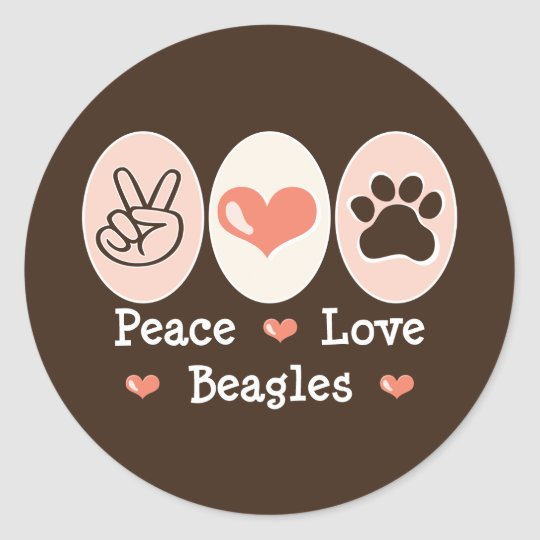 Peace Love Beagles Stickers