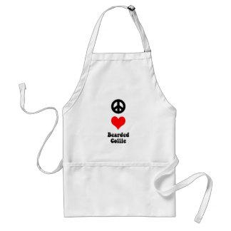 peace love bearded collie adult apron