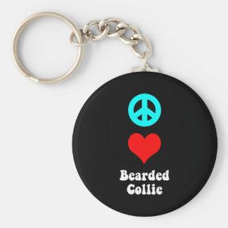 peace love bearded collie basic round button keychain