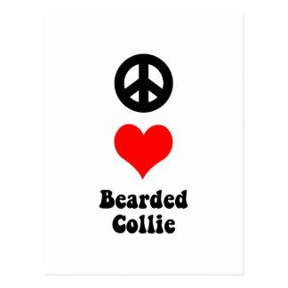 peace love bearded collie postcard