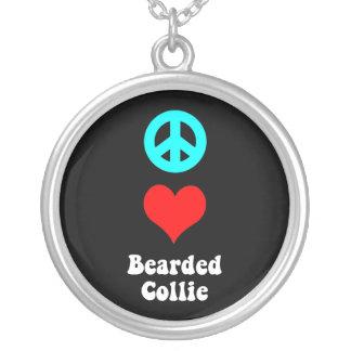 peace love bearded collie round pendant necklace