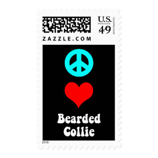 peace love bearded collie stamps