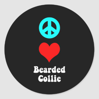 peace love bearded collie round stickers