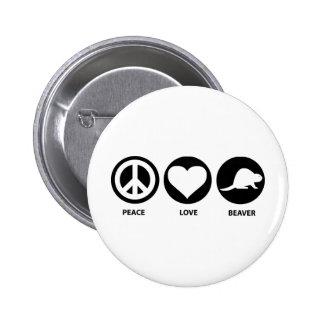 Peace Love Beaver Buttons
