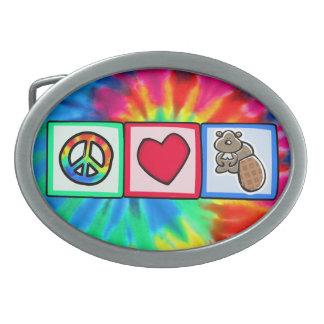 Peace, Love, Beavers Oval Belt Buckles