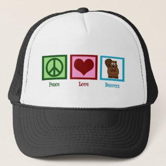 Peace Love Beavers Trucker Hat