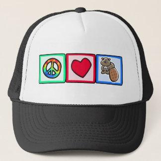 Peace, Love, Beavers Trucker Hat
