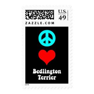 peace love Bedlington Terrier Postage Stamp