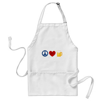 Peace Love Beer Adult Apron