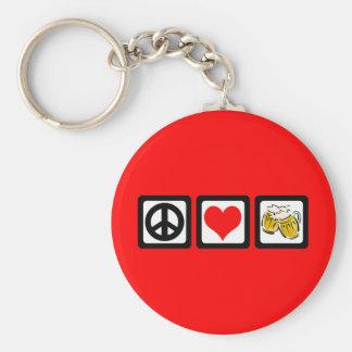 Peace love beer keychain