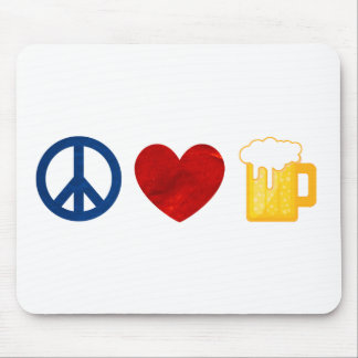 Peace Love Beer Mouse Pad