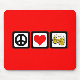 Peace love beer mouse pads