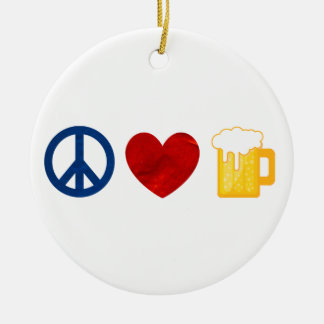 Peace Love Beer Double-Sided Ceramic Round Christmas Ornament