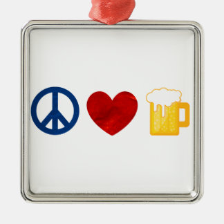 Peace Love Beer Square Metal Christmas Ornament