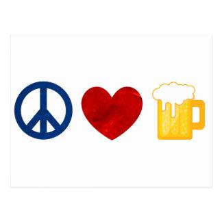 Peace Love Beer Postcard