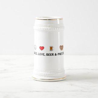 Peace, Love, Beer & Pretzels Stein