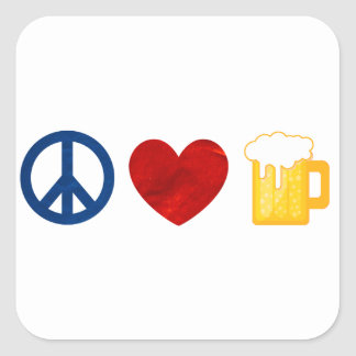 Peace Love Beer Square Sticker