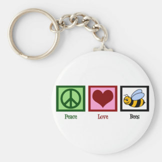 Peace Love Bees Basic Round Button Keychain
