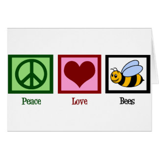Peace Love Bees Greeting Cards