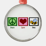 Peace Love Bees Christmas Ornament