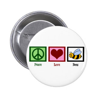 Peace Love Bees Pinback Button